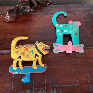 Haitian Art Canine Wall Hooks
